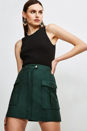 Evergreen Luxe Stretch Twill Pocket A Line Skirt