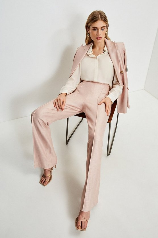Blush Luxe Stretch Twill Pintuck Wide Leg Trousers