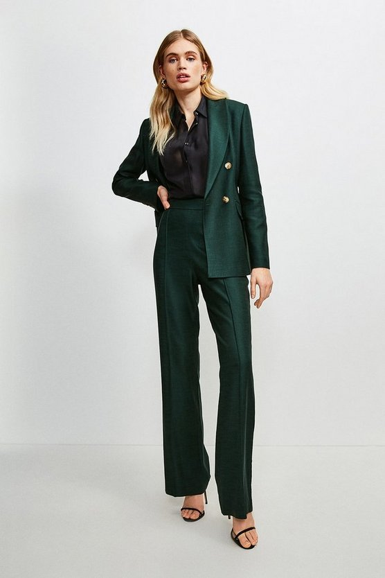 Evergreen Luxe Stretch Twill Pintuck Wide Leg Trousers