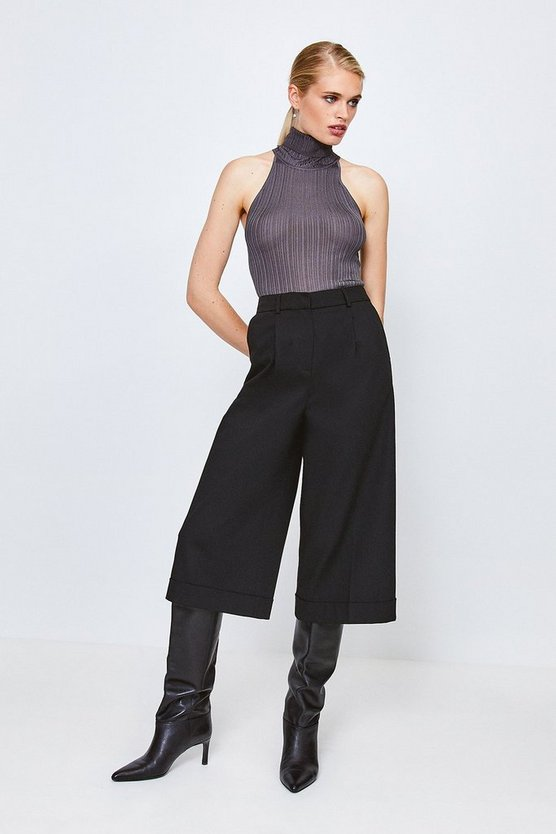 Black Clean Utility Cropped Wide Tailored Trousers