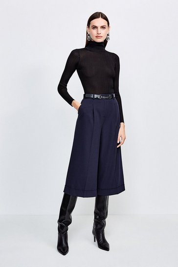 Navy Clean Utility Cropped Wide Tailored Trousers