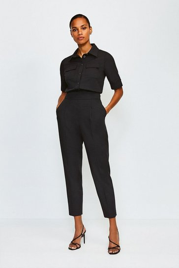 Black Clean Utility Tapered Trousers