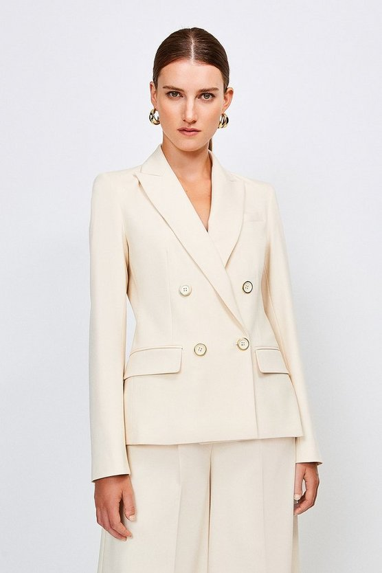 Cream Clean Utility Double Breasted Jacket