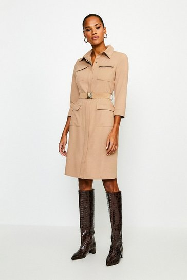 Camel Clean Utility Belted Shirt Dress