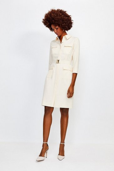 Cream Clean Utility Belted Shirt Dress