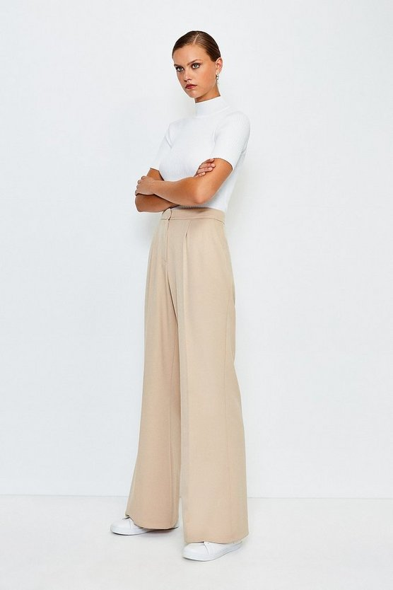 Beige Clean Tailored Wide Leg Trousers