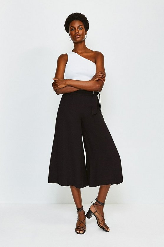 Black Eyelet Detail Wide Leg Trousers
