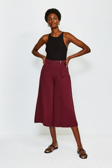 Brick Eyelet Detail Wide Leg Trousers