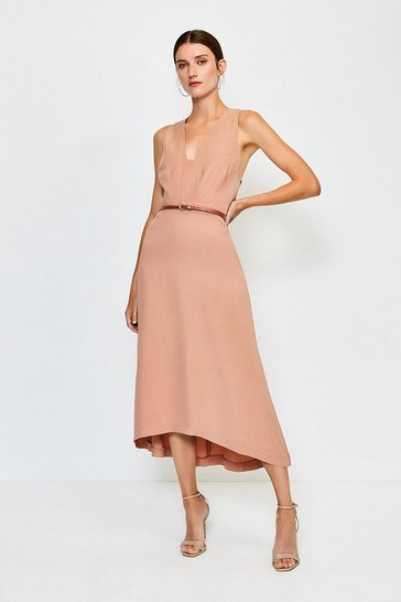 Cappucino Plunge Belted Midi Dress
