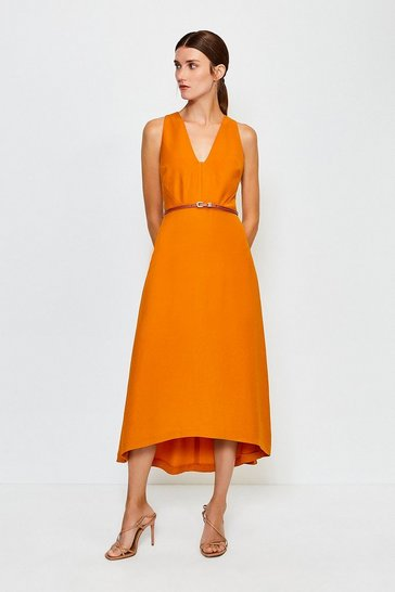 Orange Plunge Belted Midi Dress