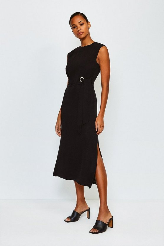 Black Eyelet Detail Midi Dress