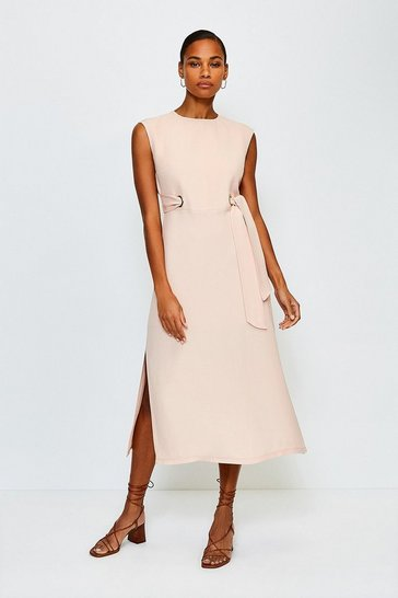 Rose Eyelet Detail Midi Dress