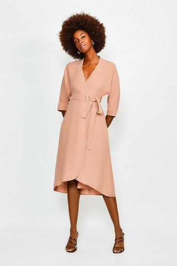 Cappucino Eyelet Detail Batwing Wrap Dress