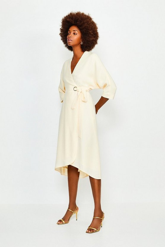 Ivory Eyelet Detail Batwing Wrap Dress