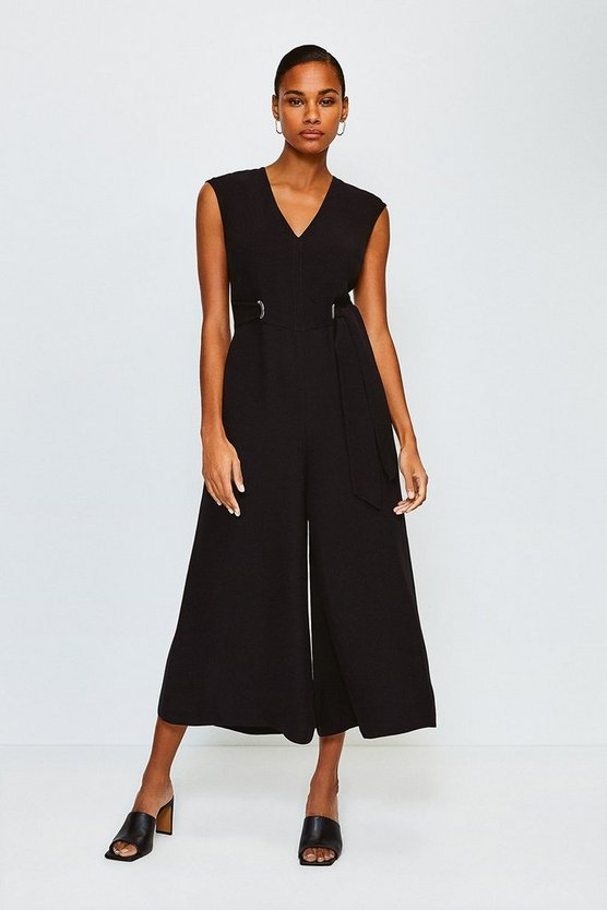Black Eyelet Detail Jumpsuit