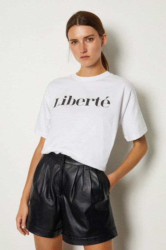 White Liberte Slogan Cotton Jersey T Shirt