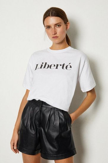 White Liberte Slogan Cotton T Shirt