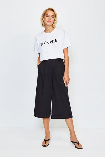 White Tres Chic Slogan Cotton T Shirt