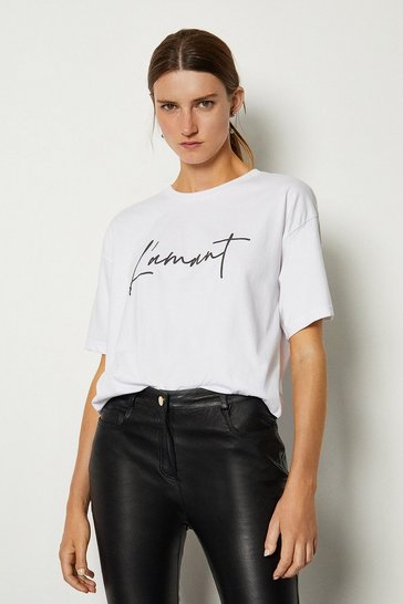 White L'amant Slogan Cotton T Shirt