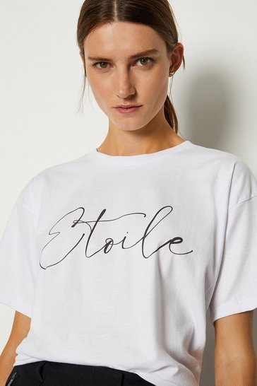 White Etoile Slogan Cotton T Shirt