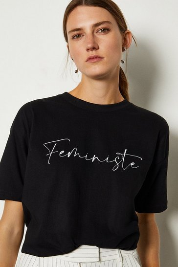Black Feministe Slogan Jersey Cotton T-Shirt
