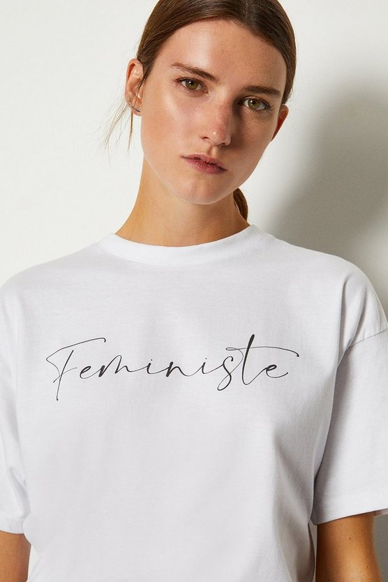 White Feministe Slogan Cotton T Shirt