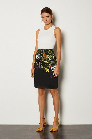 Black Stretch Cotton Printed Pencil Skirt