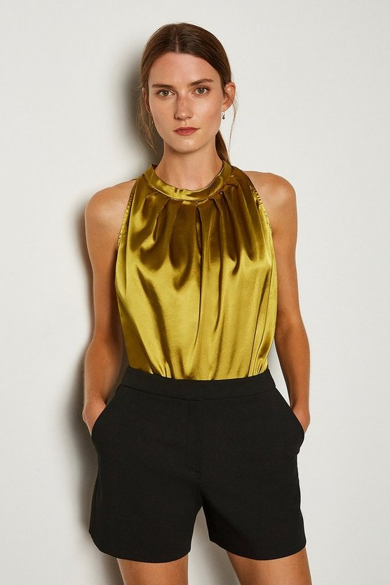 Ochre Satin Tuck Neck Shell Top