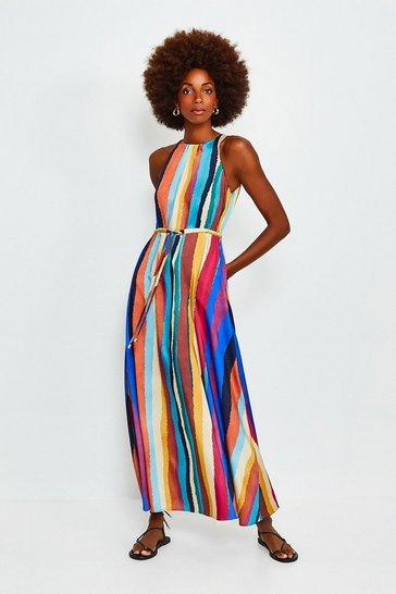Multi Rainbow Stripe Tie Waist Midi Dress