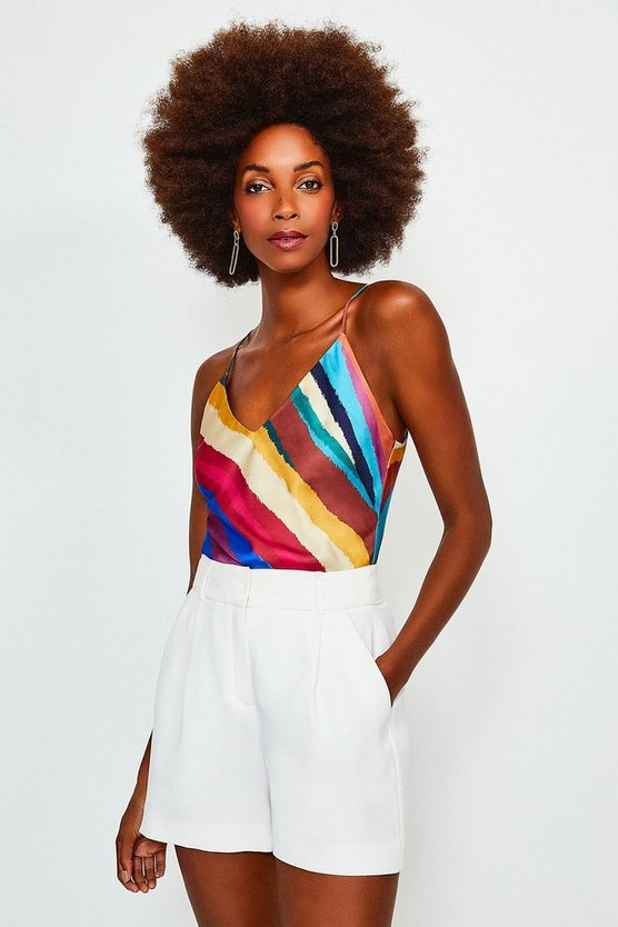 Multi Rainbow Stripe Strappy Wrap Top