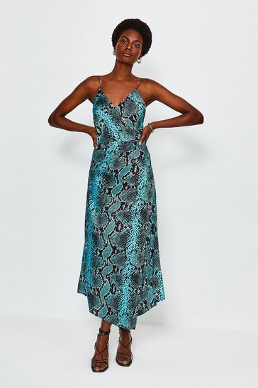 Blue Snake Print Strappy Wrap Midi Dress
