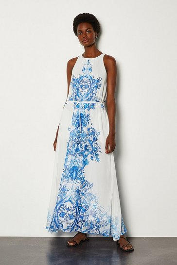 White Blue Tile Maxi Dress