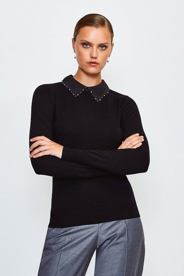 Black Embellished Collar Jumper