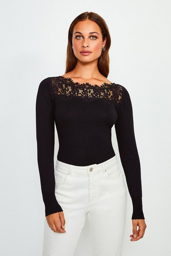 Black Lace Detail Slash Neck Jumper