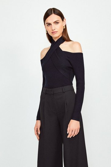 Black Cross Neck Long Sleeve Knitted Top