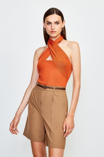 Burnt orange Cross Neck Sleeveless Knitted Top