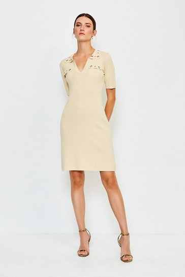 Stone Eyelet Collar and Pocket Knitted Dress