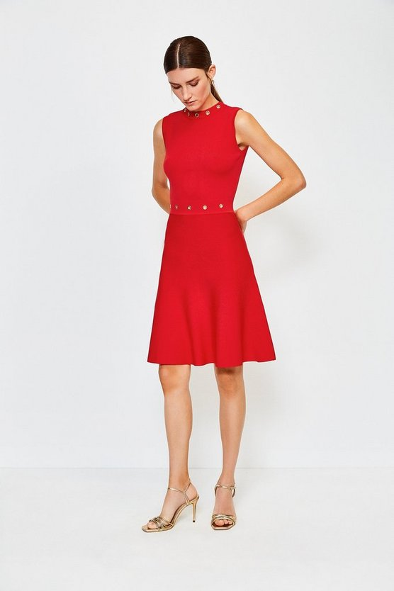 Red Eyelet Fit and Flare Knitted Dress