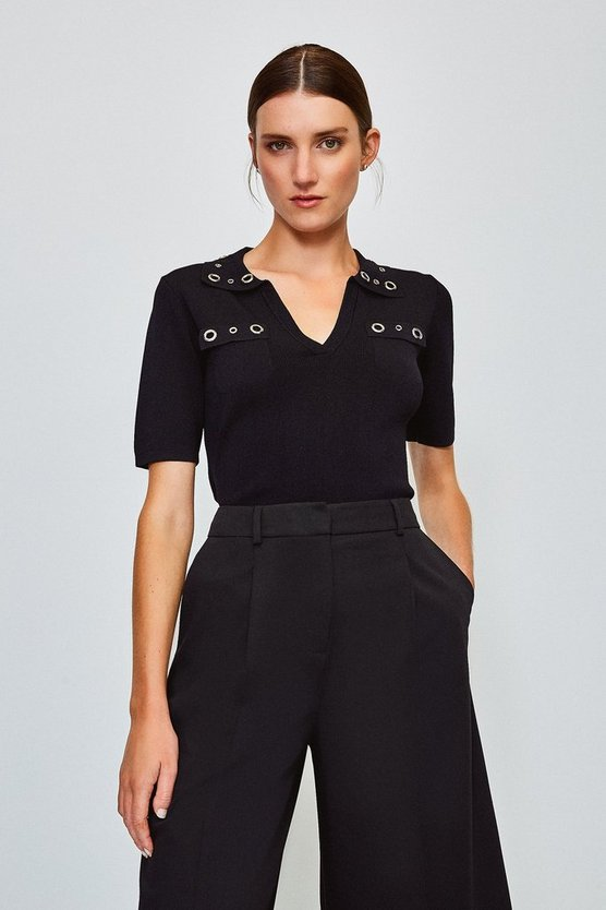 Black Eyelet Collar and Pocket Knitted Top