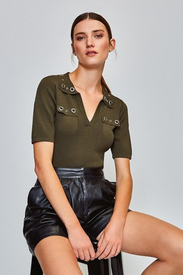 Dark green Eyelet Collar and Pocket Knitted Top