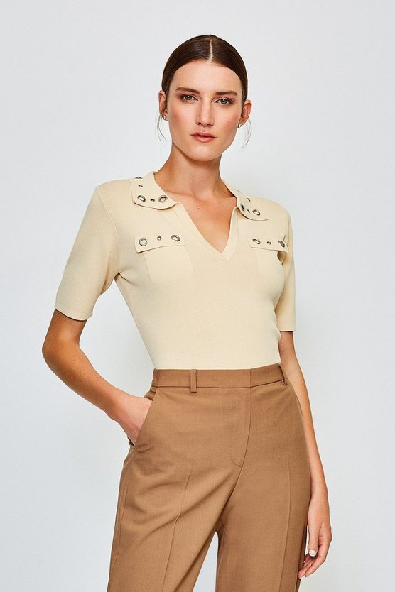 Stone Eyelet Collar and Pocket Knitted Top