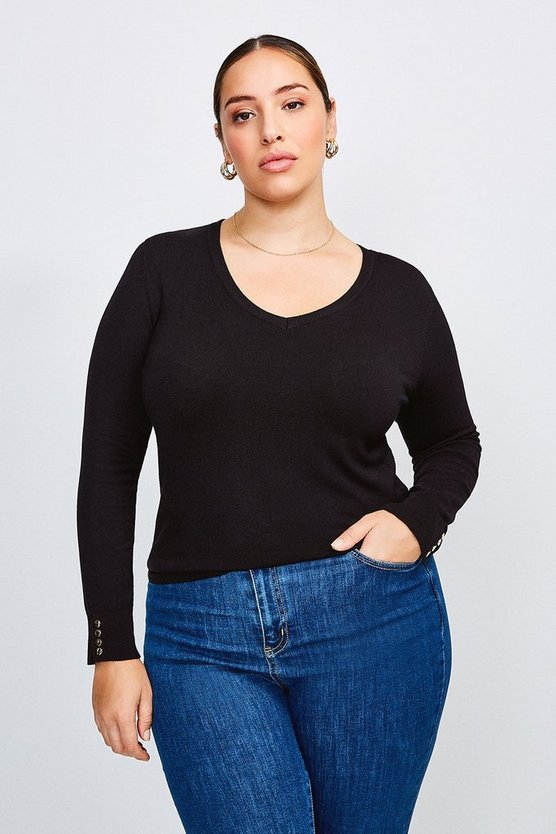 Black Curve Gold Popper V Neck Jumper