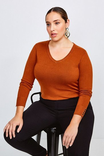 Cashew Curve Gold Popper V Neck Jumper