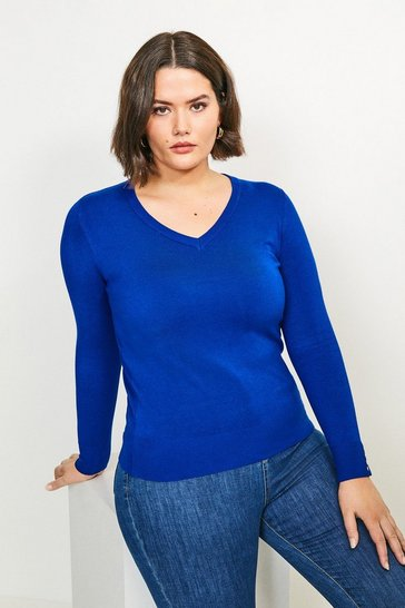 Cobalt Curve Gold Popper V Neck Jumper