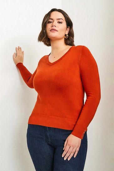 Orange Curve Gold Popper V Neck Jumper