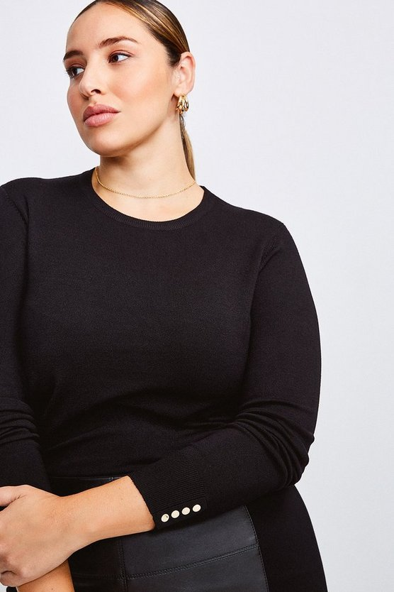 Black Curve Gold Popper Crew Neck Jumper