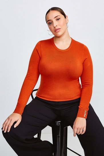 Burnt orange Curve Gold Popper Crew Neck Jumper