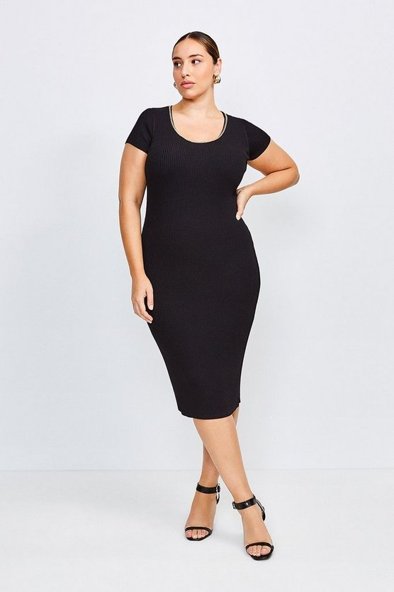 Black Curve Chain Neck Knitted Dress