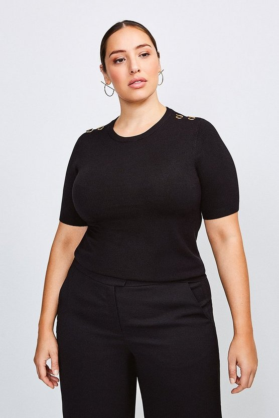 Black Curve Short Sleeve Trim Detail Knitted Top