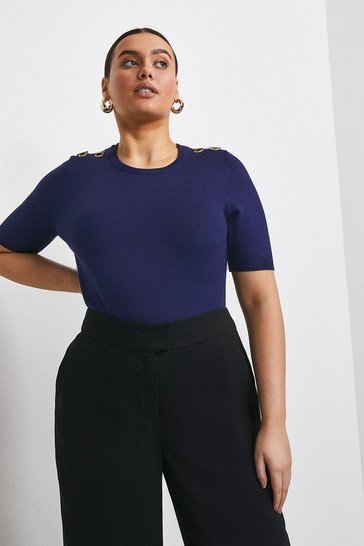 Midnight Curve Short Sleeve Trim Detail Knitted Top